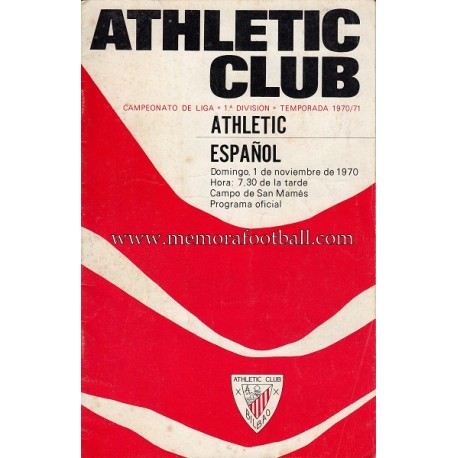 Athletic Club vs Español 01-11-1970 programa oficial