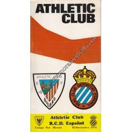 Athletic Club vs Español 10-11-1974 official programme