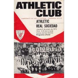 Athletic Club vs Real Sociedad 06-01-1972 official programme
