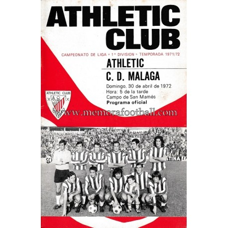 Programa del partido Athletic Club vs CD Málaga 30-04-72