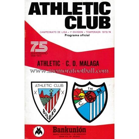 Programa del partido Athletic Club vs CD Málaga 1973/74