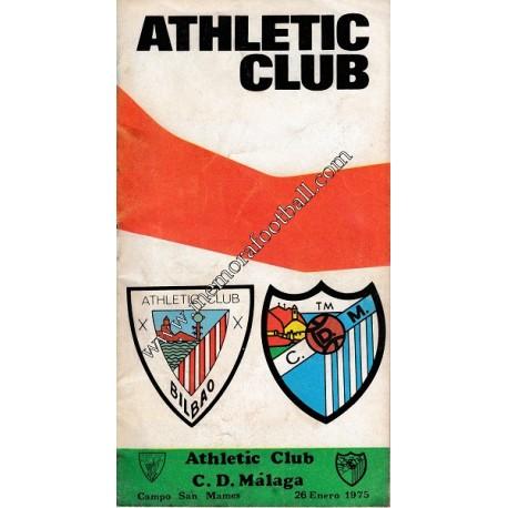 Programa del partido Athletic Club vs CD Málaga 26/01/1975