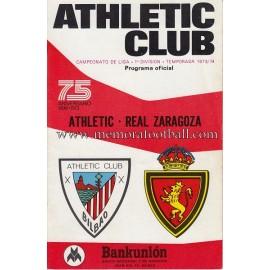 Athletic Club vs Real Zaragoza 1973/74 official programme