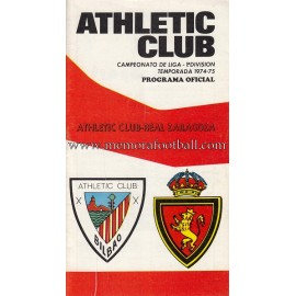Programa del partido Athletic Club vs Real Zaragoza 1974/75