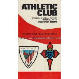 Programa del partido Athletic Club vs Real Club Celta  1974/1975