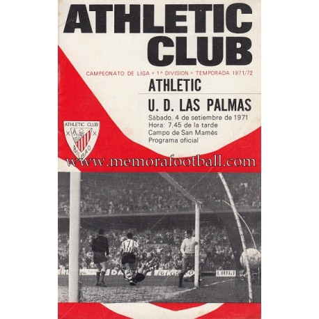 Athletic Club vs UD Las Palmas 04-09-1971 programa oficial
