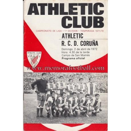 Athletic Club vs Deportivo de la Coruña 02-04-72 official programme