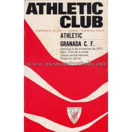 Athletic Club vs Granada CF 06-12-1970 programa oficial