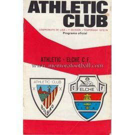 Programa del partido Athletic Club vs Elche CF 1973-74