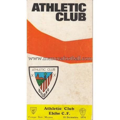 Programa del partido Athletic Club vs Elche CF 15/12/1974