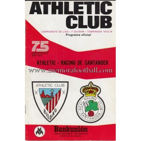 Athletic Club vs Racing de Santander 1973-74 programa oficial
