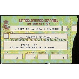 Real Madrid vs FC Barcelona 18-05-1985 Copa de la Liga ticket