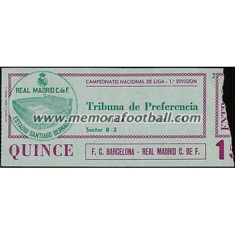 Entrada Real Madrid vs FC Barcelona 29-03-1981 LFP