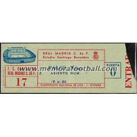 Real Madrid vs FC Barcelona 18-04-1982 Spanish League ticket