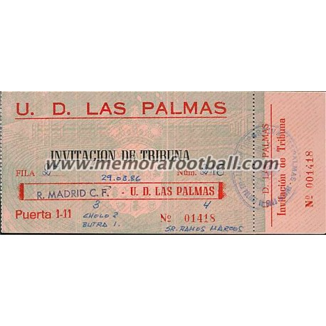 UD Las Palmas vs Real Madrid 29-03-1986 Spanish League