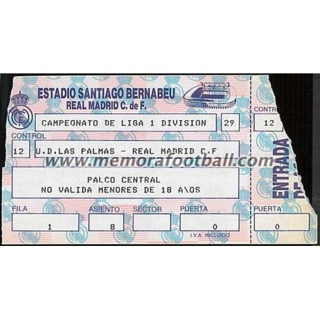 Entrada Real Madrid vs UD Las Palmas 21-02-1988 LFP