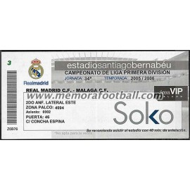 Real Madrid vs Malaga CF 23-04-2006 Spanish League ticket