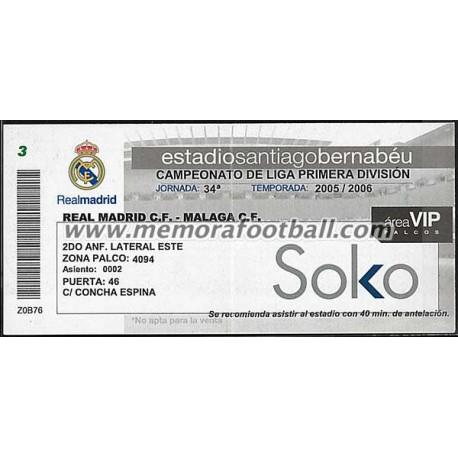 Entrada Real Madrid vs Malaga CF 23-04-2006 LFP