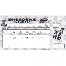 Entrada Real Madrid CF vs Real Club Celta LFP 06-11-1988