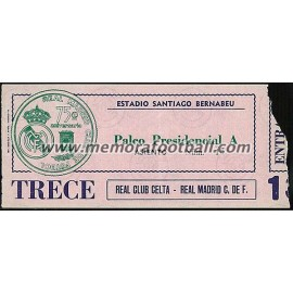 Real Madrid CF vs Real Club Celta 13-03-1977 ticket