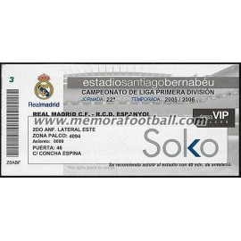 Entrada VIP Real Madrid vs RCD Español 2005-2006 LFP