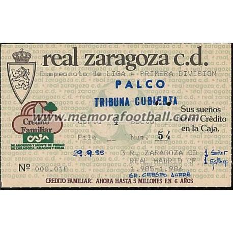 Real Zaragoza vs Real Madrid 29-09-1985 ticket
