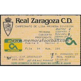 Entrada Real Zaragoza vs Real Madrid 13-09-1987