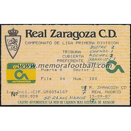 Entrada Real Zaragoza vs Real Madrid 13-09-1987