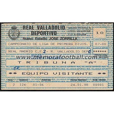 Entrada Real Valladolid vs Real Madrid 24-01-1988