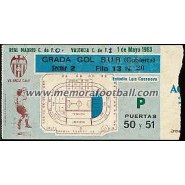 Entrada Valencia CF vs Real Madrid CF 01-05-83