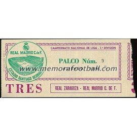 Real Madrid vs Real Zaragoza 14-10-1979 ticket