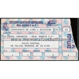 Entrada Real Madrid vs Real Zaragoza 09-10-1988