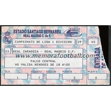 Real Madrid vs Real Zaragoza 09-10-1988 ticket