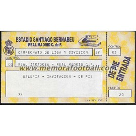 Entrada Real Madrid vs Real Zaragoza 09-10-1988