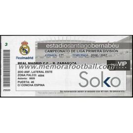 Entrada Real Madrid vs Real Zaragoza 2006-2007