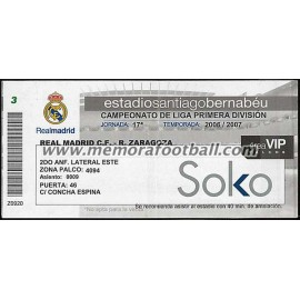 Real Madrid vs Real Zaragoza 2006-2007 ticket