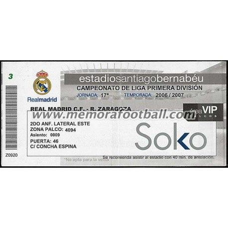 Real Madrid vs Real Zaragoza 2006-2007 ticket