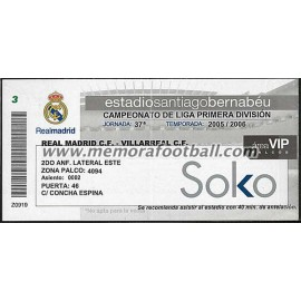 Entrada VIP Real Madrid vs Villareal 2005-2006 LFP