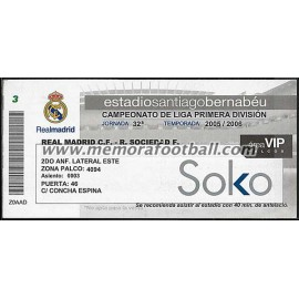 Entrada VIP Real Madrid vs Real Sociedad 2005-2006 LFP