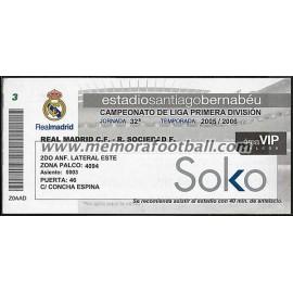 Real Madrid vs Real Sociedad 2005-2006 Spanish League VIP ticket