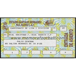 Real Madrid vs Real Sociedad 22/12/1985 Spanish League ticket
