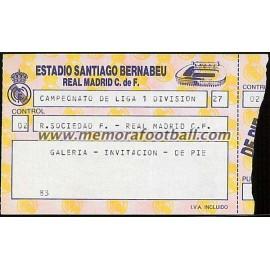 Real Madrid vs Real Sociedad 18/09/1988 Spanish League ticket