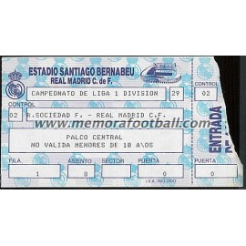 Entrada Real Madrid vs Real Sociedad 18/09/1988 LFP