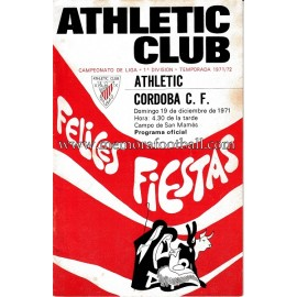 Athletic Club vs Córdoba CF 19-12-1971 programa oficial