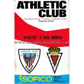 Athletic Club vs Real Murcia 1973-1974 official programme