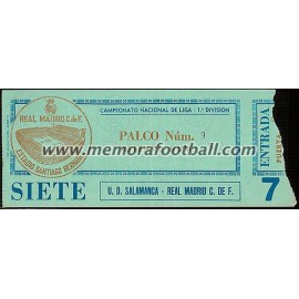 Entrada Real Madrid CF vs UD Salamanca 07-12-1980