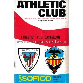 Programa del partido Athletic Club vs CD Castellón 1973-1974