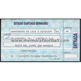 Castilla FC vs Sabadell CF 14-10-1988 ticket