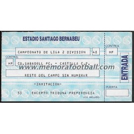 Entrada Castilla FC vs Sabadell CF 14-10-1988