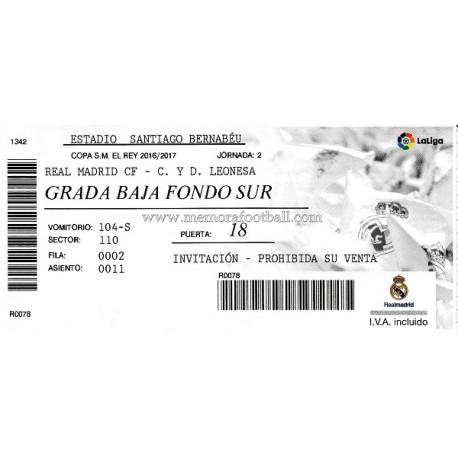 Real Madrid vs Cultural Leonesa 30-11-2016 Copa del Rey ticket